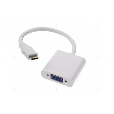 CONVERSOR / ADAPTADOR ENTRADA MINI HDMI MACHO - SALIDA VGA HEMBRA - 1080p - NEGRO