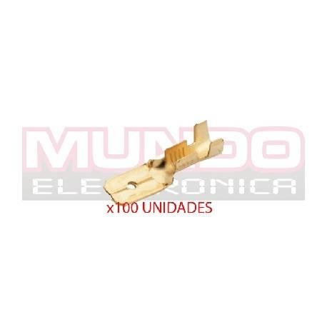 TERMINAL PLANO FASTON MACHO 6,3mm - 0,8mm - 100 UNIDADES
