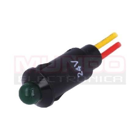 LAMPARA INDICADORA LED 24VDC - ORIFICIO MONT. 8,2mm - PLASTICO - VERDE - CABLE 170mm