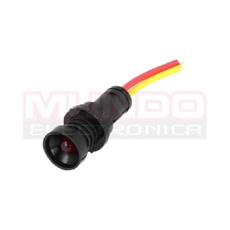 LAMPARA INDICADORA LED 12 a 24VDC - 12 a 24VCA - ORIFICIO 10mm - CABLE 300mm - ROJO