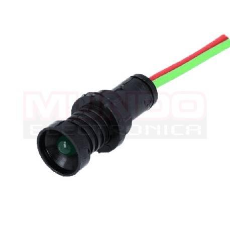 LAMPARA INDICADORA LED 12 a 24VDC - 12 a 24VCA - ORIFICIO 10mm - CABLE 300mm - VERDE