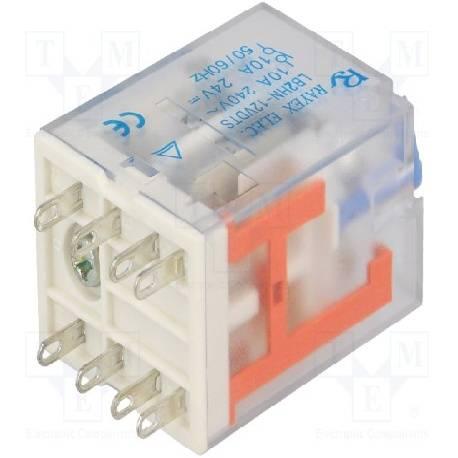 RELE ELECTROMAGNETICO DPDT 12VCC / 10A-240VCA - 28x21.5x35mm - LB2HN-12DTS