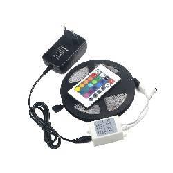 TIRA DE LED FLEXIBLE - RGB - 150 LEDs - 5 METROS - 12VDC - IP61 + DRIVER c/MANDO + ALIMENTADOR