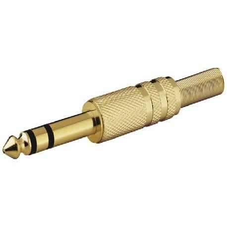CONECTOR JACK 6,3mm STEREO MACHO - DORADO - SOLDAR