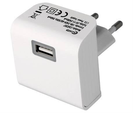 ALIMENTADOR - CARGADOR RED 100-230VCA a USB - 5V 2400mAh - BLANCO