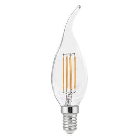 LAMPARA LED FILAMENTO F37 VELA - ROSCA E14 - 4W - 2700K - LUZ CALIDA - CUERPO EFECTO LLAMA