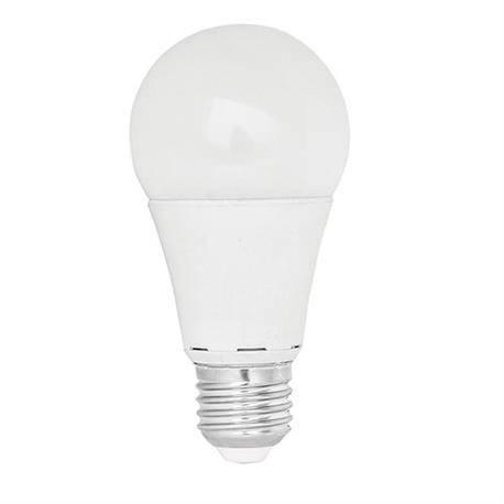 LAMPARA LED PLASTICO - ALUMINIO A60 ESFERICA - ROSCA E27 - 10W - 3000K - LUZ CALIDA