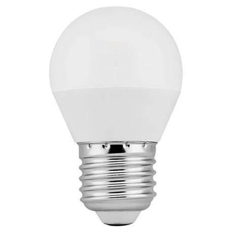 LAMPARA LED PLASTICO - ALUMINIO G45 ESFERICA - ROSCA E27 - 6W - 3000K - LUZ CALIDA