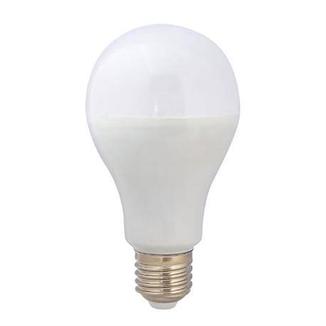 LAMPARA LED PLASTICO - ALUMINIO A70 ESFERICA - ROSCA E27 - 15W - 3000K - LUZ CALIDA