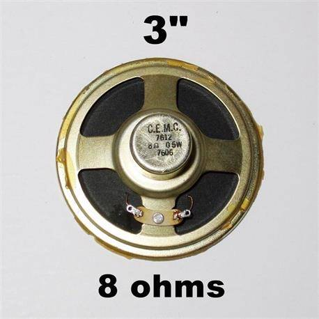 ALTAVOZ TODO RANGO DE 3 PULGADAS - 8ohm - 0,5W - VINTAGE RADIO - TV - C.E.M.C. 7612