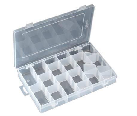 CAJA PLASTICO AJUSTABLE 16 DEPARTAMENTOS - 275x177x42,5mm - TRANSPARENTE + 15 DIVISORES