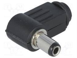 CONECTOR JACK ALIMENTACION ACODADO 5,5x2,5mm LARGO 9mm