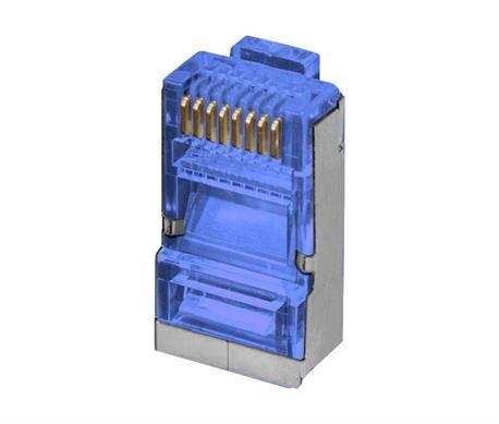 CONECTOR MODULAR RED RJ45 FTP - 8 VIAS BLINDADO CAT6 - 3 MICRAS ORO - 100 UNIDADES