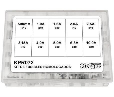 JUEGO DE FUSIBLES RAPIDOS 5X20mm - CRISTAL - 100 UNIDADES - HASTA 10A