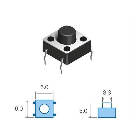 MICRO PULSADOR DE TACTO DIP 4 PIN - (ON) OFF - PARA PCB PASANTE - 6x6x5mm