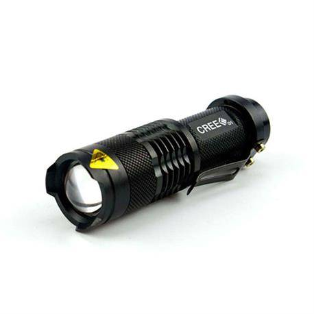 LINTERNA LED BOLSILLO TM 3W - CON ZOOM - METAL - RESIST AGUA - DISTAN 600m - 1 PILA AA (INCL)