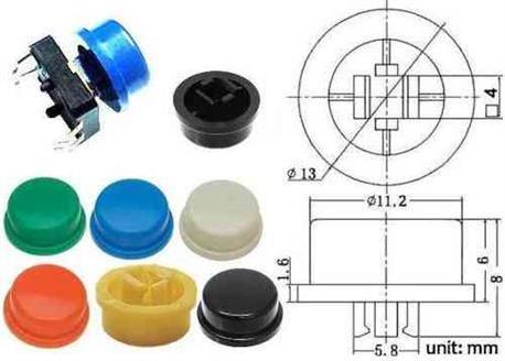 BOTON PARA MICRO PULSADORES DE TACTO 12x12x7,3mm CON BASTAGO - NEGRO