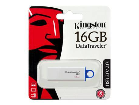 MEMORIA FLASH KINGSTON - PENDRIVE 16GB - USB3.0 USB 3.1 - BLANCO - DTIG4/16GB