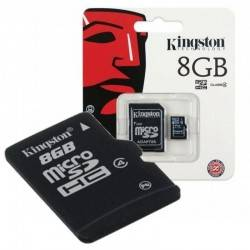 MEMORIA MICRO SD 8GB KINGSTON - CL4 - CON ADAPTADOR A SD