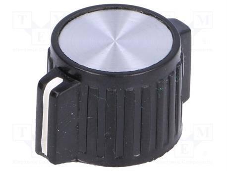 PERILLA CON INDICADOR EJE 6mm - 25x14,1mm - FIJACION A TORNILLO - NEGRO