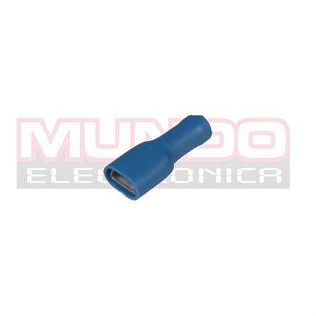 TERMINAL PLANO FASTON HEMBRA AISLADO 6.3mm - CABLE 1,5 A 2,5mm - AZUL - 1 UNIDAD