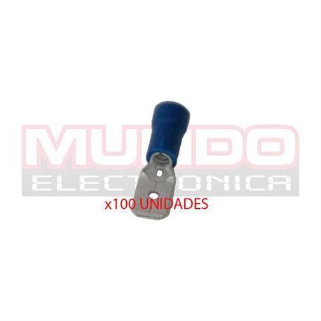 TERMINAL PLANO FASTON MACHO PREAISLADO 6.3mm - CABLE DE 1,5 A 2,5mm - AZUL - 100 UNIDADES