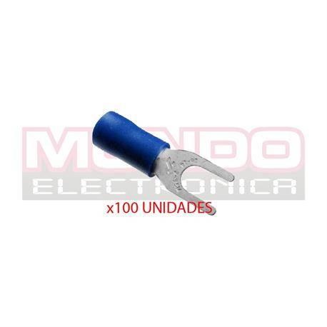 TERMINAL DE HORQUILLA PREAISLADOR - M4 4,3mm - CABLE 1,5mm - 2,5mm - AZUL - 100 UNIDADES