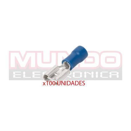 TERMINAL PLANO FASTON HEMBRA PREAISLADO 6.3mm - CABLE DE 1,5 A 2,5mm - AZUL - 100 UNIDADES