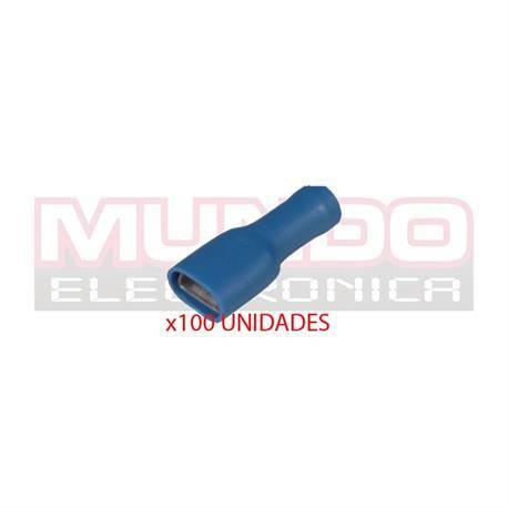 TERMINAL PLANO FASTON HEMBRA AISLADO 6.3mm - CABLE 1,5 A 2,5mm - AZUL - 100 UNIDADES