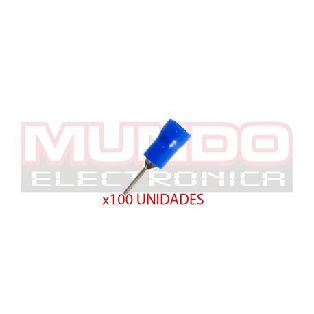 TERMINAL DE PUNTA PREAISLADO - PUNTA GROSOR 2mm - CABLE 1,5 A 2,5mm - AZUL - 100 UNIDADES
