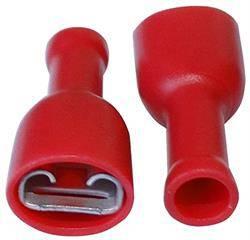 TERMINAL PLANO FASTON HEMBRA AISLADO 6.3mm - CABLE 0,5 A 1,5mm - ROJO - 100 UNIDADES