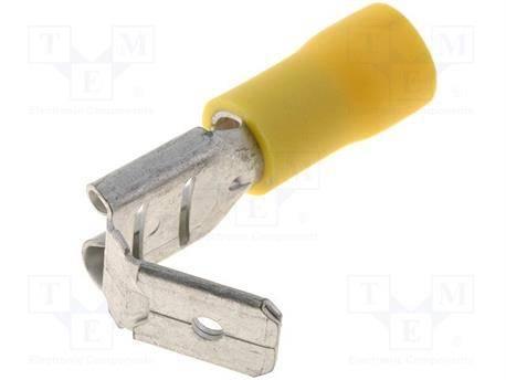 TERMINAL FASTON HEMBRA PREAISLADO 6.3mm - DUPLICADOR - CABLE 4 A 6mm - AMARILLO - 1 UNIDAD