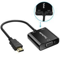 CONVERSOR - ADAPTADOR ENTRADA HDMI MACHO - SALIDA VGA HEMBRA - 1080p - AUDIO - ACTIVO