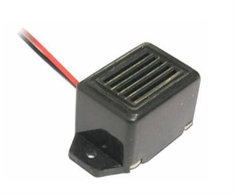 ZUMBADOR ELECTRONICO 12VDC - 85dB - CUADRADO NEGRO - CABLE 5mm