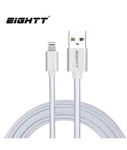 CONEXION USB 2.0 - LIGHTNING - TRENZADO DE NYLON - CARGA Y SINCRON. - 1 METRO - IPHONE IPAD - PLATA
