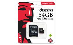 MEMORIA MICRO SD UHS-I 64GB KINGSTON - CL10 - CON ADAPTADOR A SD - HD VIDEO