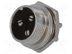 CONECTOR MACHO DE MICROFONO 3 PIN 16mm - PANEL