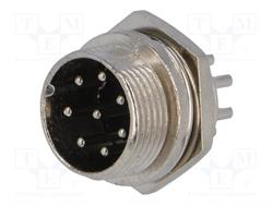 CONECTOR MACHO DE MICROFONO 8 PIN 16mm - PANEL