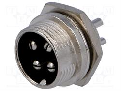 CONECTOR MACHO DE MICROFONO 4 PIN 16mm - PANEL