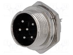 CONECTOR MACHO DE MICROFONO 6 PIN 16mm - PANEL