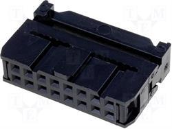 CONECTOR IDC 16 PIN HEMBRA - RASTER CONTACTOS 2,54mm - RASTER CINTA 1,27mm