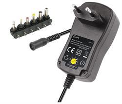 ALIMENTADOR ELECTRONICO UNIVESAL REGULABLE - MANUAL - DE 9..24VCC - 24W - 1A - 6 CONECTORES