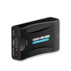 CONVERSOR / ADAPTADOR ENTRADA SCART HEMBRA - SALIDA HDMI HEMBRA 1080P CON CABLE USB - NEGRO - BOX