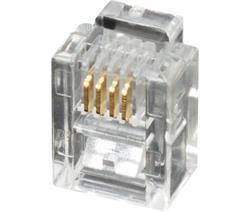 CONECTOR MODULAR TELEFONICO RJ11 6V / 4C - TRANSPARENTE - 100 UNIDADES