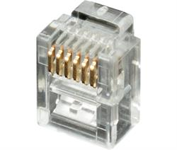 CONECTOR MODULAR TELEFONICO RJ12 6V / 6C - TRANSPARENTE - 100 UNIDADES