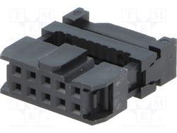 CONECTOR IDC 10 PIN HEMBRA - RASTER CONTACTOS 2,54mm - RASTER CINTA 1,27mm