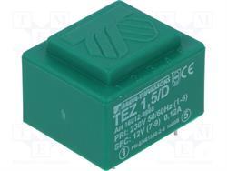TRANSFORMADOR CERRADO 1,5VA 230VCA - 12VCA - MONTAJE C.I. - 28X33X22mm