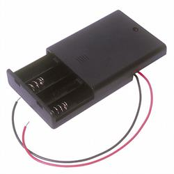 PORTAPILAS 4xR3 AAA - BLOQUE DE 4 - CABLE 150mM - CON INTERRUPTOR ON/OFF