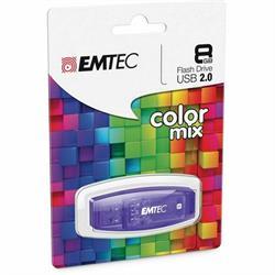 MEMORIA FLASH - PENDRIVE EMTEC COLOR MIX 8GB - USB 2.0 - MORADO