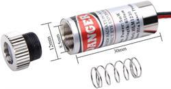 PUNTERO - DIODO LASER - 650nm - 5mW - 3 a 5VDC - ALUMINIO - 43x33x14 mm - PUNTO